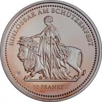 """Швейцария 50 франков 2002 г., PROOF, """"Стрелковый фестиваль в Цюрихе"""""""