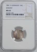 """Саксония 1 новый грош 1841 г., NGC MS63, """"Король Фридрих Август II (1836 - 1854)"""""""