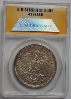 Баден 5 марок 1913 г., ANACS EF(XF)45, 'Великий герцог Фридрих ІІ (1907-1918)