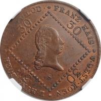"""Австрия 30 крейцеров 1807 г. S, NGC MS62 BN, """"Император Франц II (1806 - 1835)"""""""