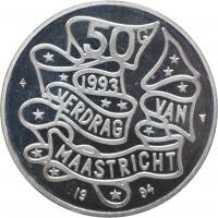 """Нидерланды 50 гульденов 1994 г., PROOF, """"Маастрихтский договор"""""""