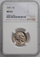 "США 5 центов 1937 г., NGC MS65, ""Buffalo Nickel"""