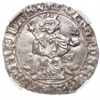 """Неаполь 1 Джильято 1309-1343 г., NGC MS61, """"Король Роберт I Анжуйский (1309-1343)"""""""