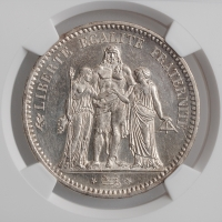 "Франция 5 франков 1848 г. A, NGC UNC Details, ""Геркулес"""