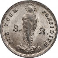 """Генуя 2 сольдо 1814 г., UNC, """"Генуэзская Республика (04.1814 - 01.1815)"""""""