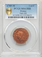 """Франция 1 лиард 1789 г. M, PCGS MS63 RB, """"Король Людовик XVI (1774 - 1793)"""""""