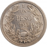 "Чили 1 песо 1933 г., BU, ""Республика Чили (1899 - 1968)"""