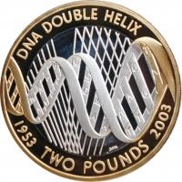 """Великобритания 2 фунта 2003 г., PROOF, """"50 лет открытию структуры ДНК"""""""