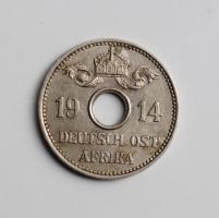 Германская Восточная Африка 5 геллеров 1914 г. J, XF, 'Император Вильгельм II (1888 - 1918)'