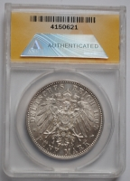Бавария 5 марок 1907 г., ANACS AU55, 'Король Отто I (1886-1913)'