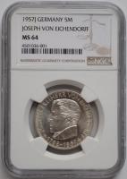 ФРГ 5 марок 1957 г., NGC MS64, '100 лет со дня смерти Йозефа фон Эйхендорфа'