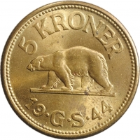"""Гренландия 5 крон 1944 г., BU, """"Датская колония (1926 - 1964)"""""""