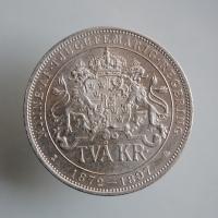 """Швеция 2 кроны 1897 г., UNC, """"25 лет вступлению на престол Короля Оскара II"""""""