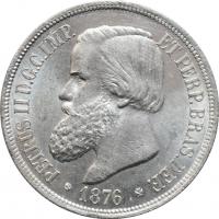 "Бразилия 1000 рейсов 1876 г., BU, ""Император Педро II (1831 - 1889)"""