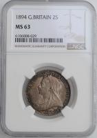 "Великобритания 2 шиллинга (флорин) 1894 г., NGC MS63, ""Королева Виктория (1838 - 1901)"""