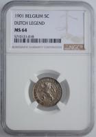 """Бельгия 5 сантимов 1901 г., NGC MS64 BELGEN, """"Король Леопольд II (1865 - 1909)"""""""