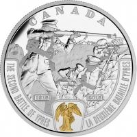 """Канада 20 долларов 2015 г., PROOF, """"Первая мировая война: Вторая битва при Ипре"""""""