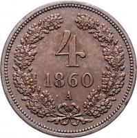 "Австрия 4 крейцера 1860 г. A, UNC, ""Император Франц Иосиф I (1848 - 1916)"""