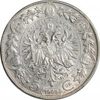 """Австрия 5 крон 1909 г., AU, """"Импператор Франц Иосиф I (1848 - 1916)"""""""