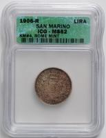 Сан-Марино 1 лира 1906 г., ICQ MS62, 'Республика (1864 - 1938)'