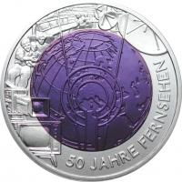 """Австрия 25 евро 2005 г., BU, """"50 лет телевидению"""""""