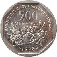 "Центральная Африка (BEAC) 500 франков 1998 г., BU, ""Франк КФА BEAC (1973 - 2019)"""