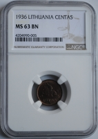 Литва 1 цент 1936 г., NGC MS63 BN, 'Первая Республика (1925 - 1938)'