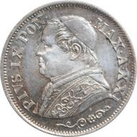 """Папская область 10 сольдо 1866 г. R,  BU, """"Папа Пий IX (1846 - 1878)"""""""