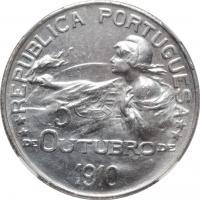 """Португалия 1 эскудо 1910 г., NGC UNC Details, """"Основание республики"""""""