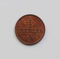 Австро-Венгрия ½ крейцера 1851 г. B, UNC, 'Австрийская империя (1806 - 1857)'