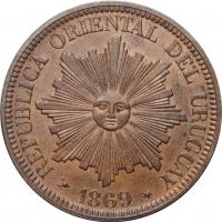 "Уругвай 4 сентесимо 1869 г. H, UNC, ""Песо (1862 - 1974)"""