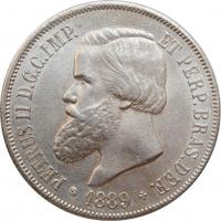 "Бразилия 2000 рейсов 1889 г., UNC, ""Император Педро II (1831 - 1889)"""
