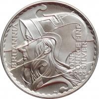 """Великобритания 2 фунта 2003 г., PROOF, """"Серия Британия - Голова Британии"""""""