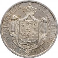 "Брауншвейг 1 союзный талер 1871 г., BU, ""Герцог Вильгельм (1831 - 1884)"""