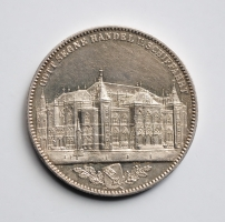 Бремен 1 талер 1864 г., AU, 'Открытие новой бизнес-биржи'