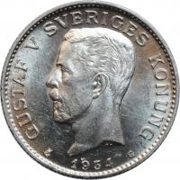 """Швеция 1 крона 1934 г. G, BU, """"Король Густав V (1908 - 1950)"""""""