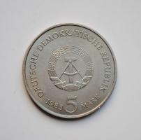 ГДР 5 марок 1983 г., UNC, 'Родной дом Мартина Лютера в Эйслебене'