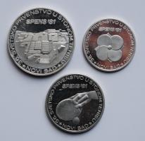 Югославия 500, 1000, 1500 динаров 1981 г., PROOF, 'Чемпионат мира по настольному теннису 1981'