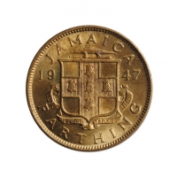 "Ямайка 1 фартинг 1947 г., UNC, ""Король Георг VI (1937 - 1952)"""