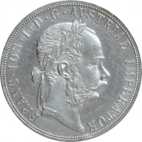 """Австрия 2 флорина 1884 г., UNC, """"Император Франц Иосиф I (1848 - 1916)"""""""