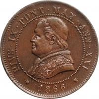 """Папская область 4 сольдо 1866 г. R, UNC, """"Папа Пий IX (1846 - 1878)"""""""