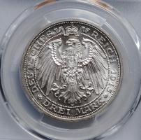 Мекленбург-Шверин 3 марки 1915 г., PCGS MS64+, '100 лет Великому Герцогству'
