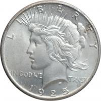 """США 1 доллар 1925 г., BU, """"Мирный доллар"""""""