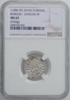 """Испания, Кастилия и Леон 1 Динеро 1286-1288 г., NGC MS63, """"Король Санчо IV (1284 - 1295)"""""""
