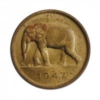 """Бельгийское Конго 2 франка 1947 г., UNC, """"Колония Бельгии (1909 - 1949)"""""""