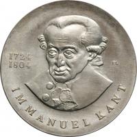 """ГДР 20 марок 1974 г., BU, """"250 лет со дня рождения Иммануила Канта"""""""