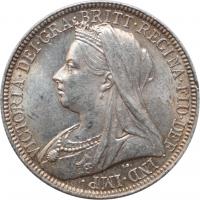 "Великобритания 2 шиллинга (флорин) 1896 г., UNC, ""Королева Виктория (1838 - 1901)"""