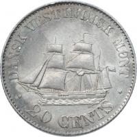 """Датская Вест-Индия 20 центов 1878 г., UNC, """"Король Кристиан IX (1873 - 1906)"""""""