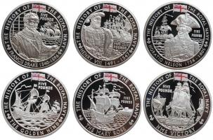 "Великобритания (Гернси, Джерси, Олдерни) набор 5 фунтов 2009 г., PROOF, ""История Королевского флота"""