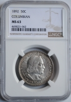 США 50 центов 1892 г., NGC MS63, 'Колумбийская выставка'